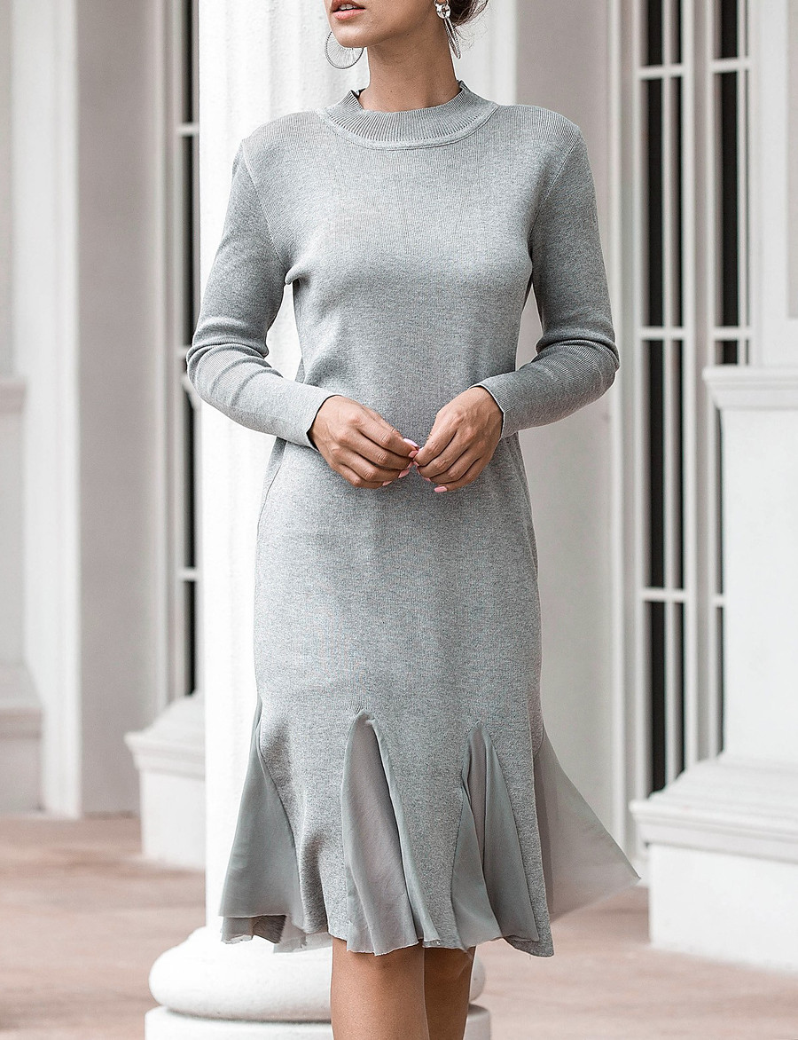 Women's Sweater Jumper Dress Knee Length Dress - Long Sleeve Solid Color Fall Work Casual 2020 Black Dusty Rose Gray One-Size