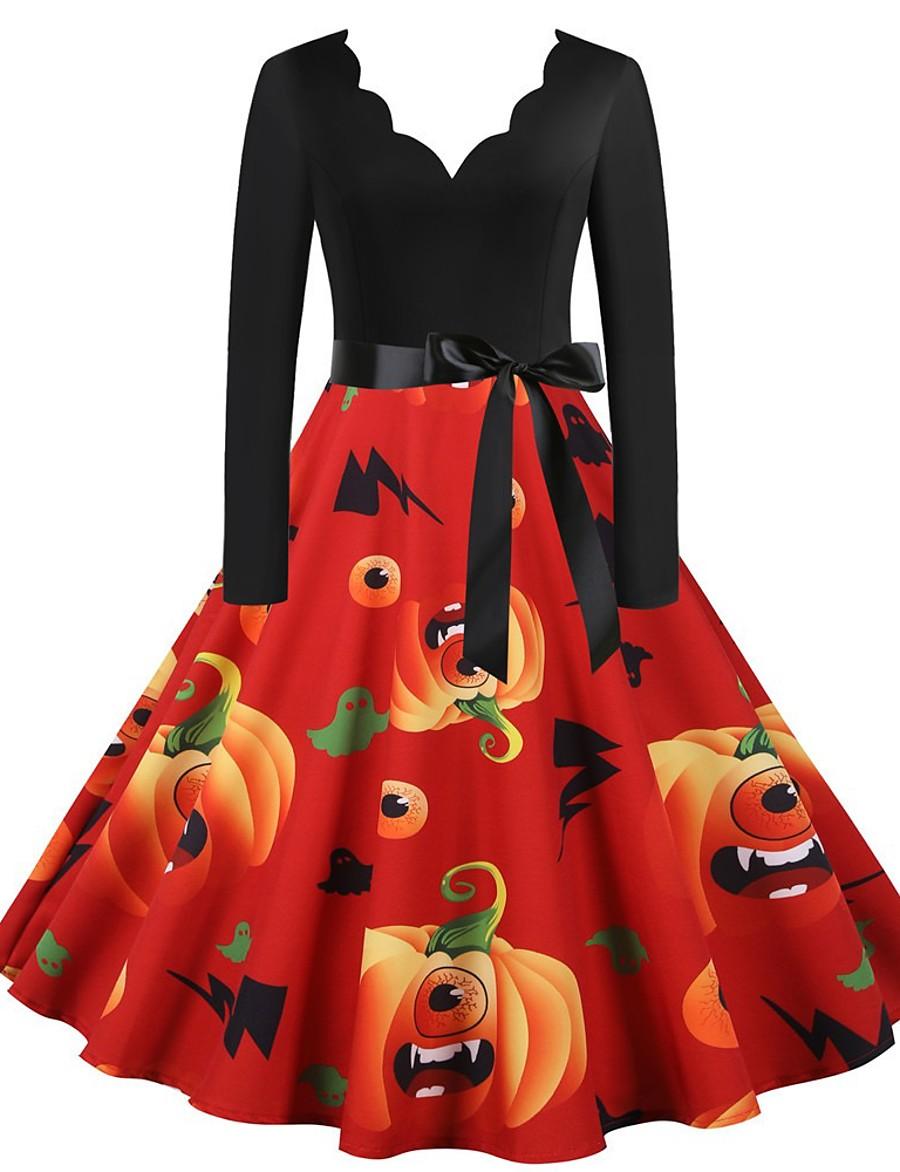 Halloween Women's A-Line Dress Knee Length Dress - Long Sleeve Pumpkin Bat Print Print Fall Vintage Slim 2020 Black Blue Purple Red Blushing Pink S M L XL XXL 3XL