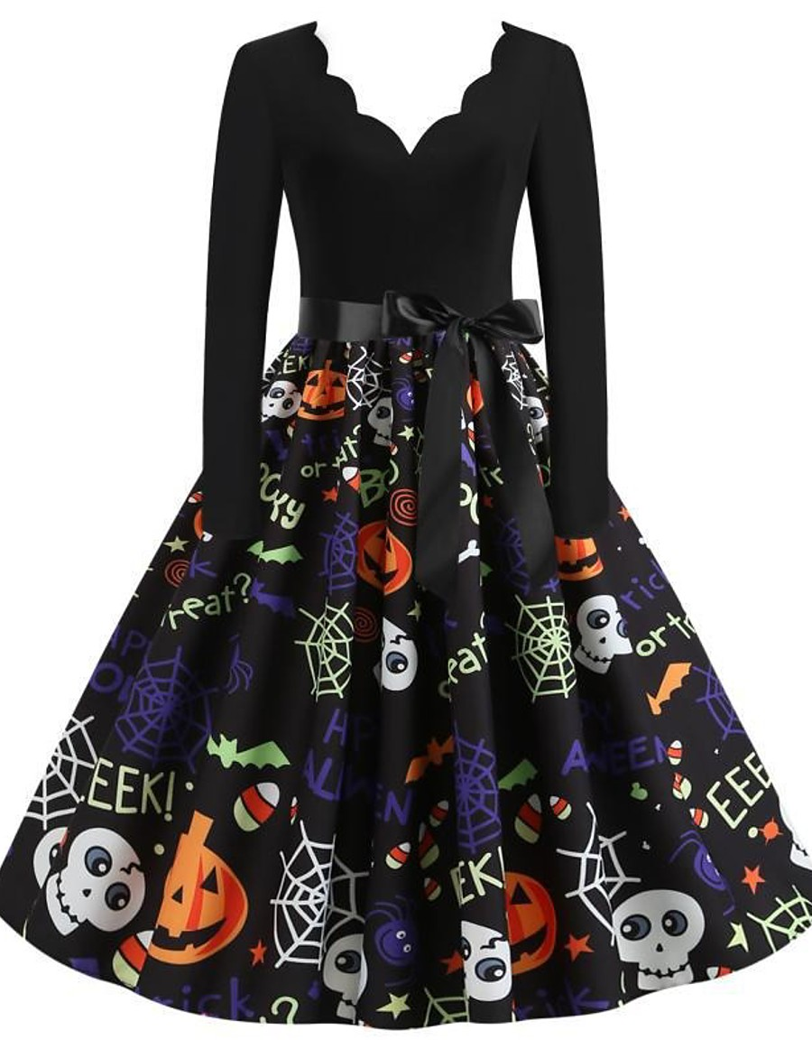 Halloween Women's A-Line Dress Knee Length Dress - Long Sleeve Pumpkin Skulls Spider Print Bow Patchwork Print Fall V Neck Hot Vintage Slim 2020 Black S M L XL XXL 3XL