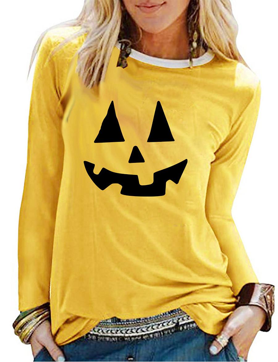 Women's Halloween T-shirt Graphic Prints Pumpkin Long Sleeve Print Round Neck Tops 100% Cotton Basic Halloween Basic Top White Black Red