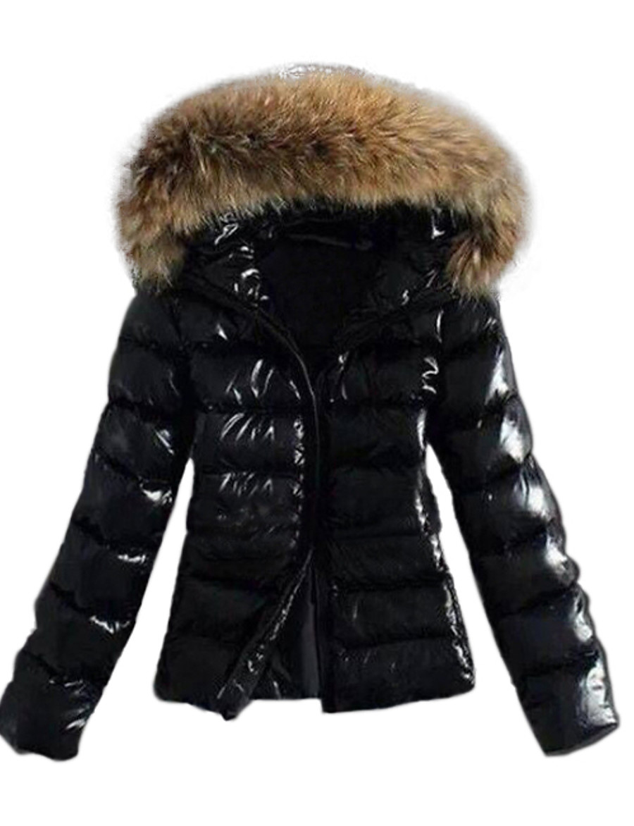 Women's Fall Winter Down Parka Sports & Outdoor Basic Fur Trim Solid Colored Nylon Long Sleeve Hooded Black S / M / L