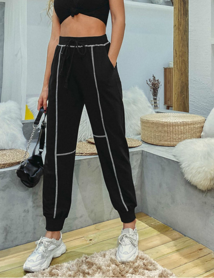 Sporty Women's Sports Chinos Daily Pants Full Length Solid Colored Black