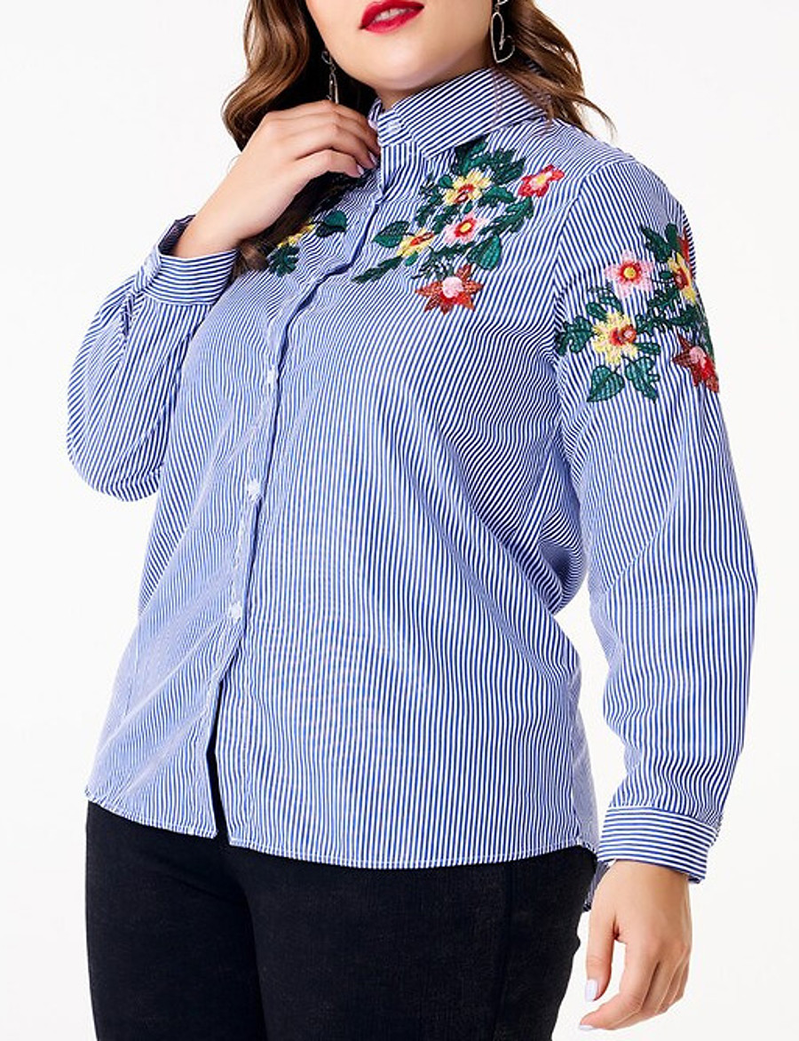 Women's Plus Size Blouse Shirt Striped Floral Flower Long Sleeve Embroidered Patchwork Shirt Collar Tops Slim Basic Basic Top Blue