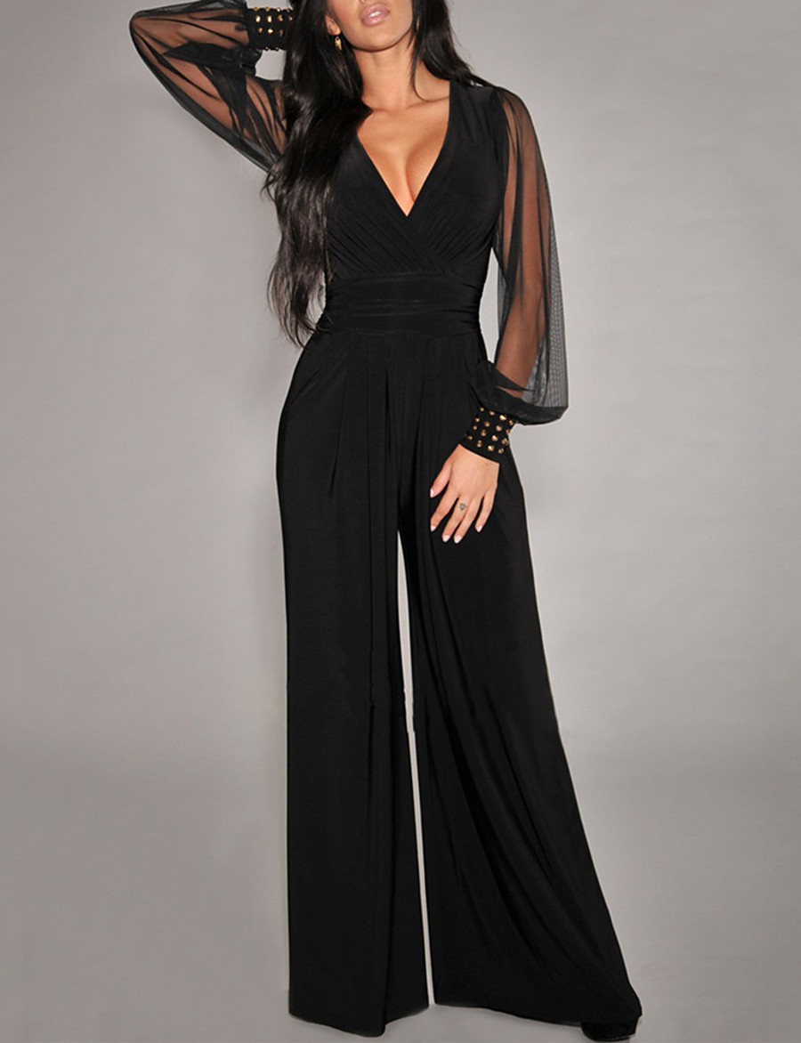 Women's Basic Black Jumpsuit Solid Colored Mesh Patchwork