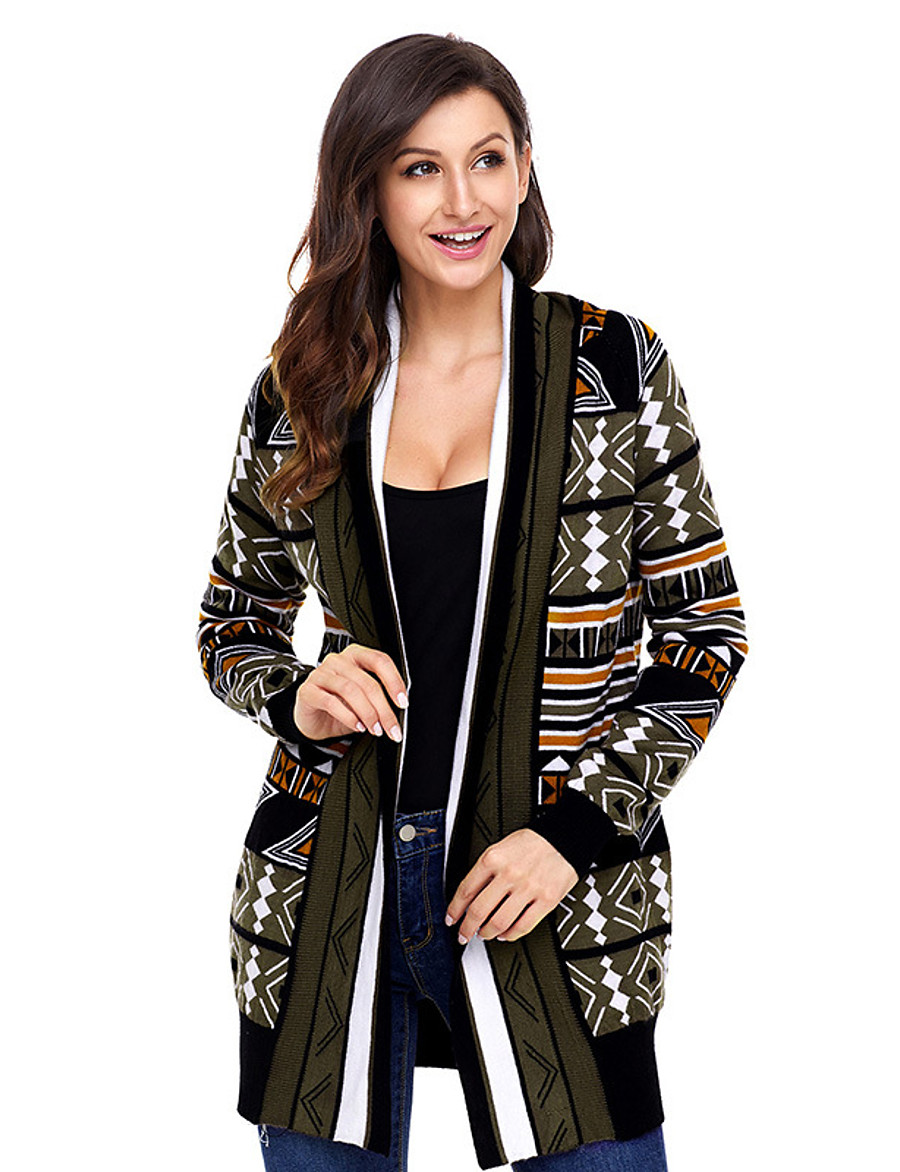 Women's Basic Christmas Knitted Geometric Cardigan Acrylic Fibers Long Sleeve Sweater Cardigans Open Front Fall Winter Khaki Green