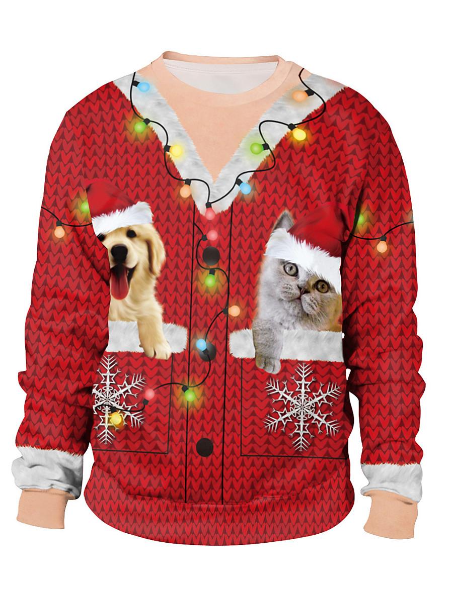 Women's Pullover Sweatshirt Print Color Block Rainbow Daily Active Christmas Hoodies Sweatshirts  Loose Rainbow