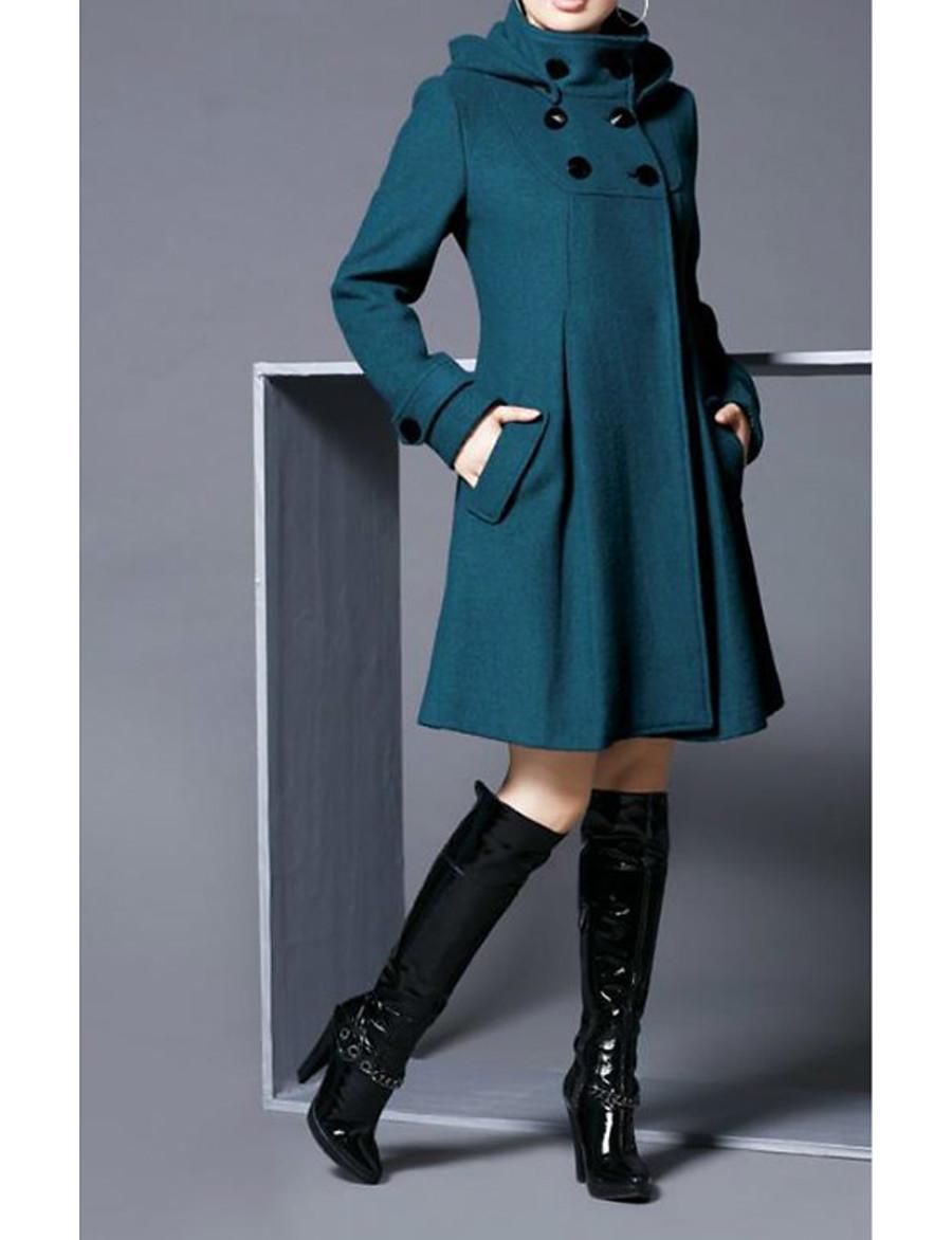 Women's Fall & Winter Coat Long Color Block Daily Basic Black Red Green Dark Gray S M L XL