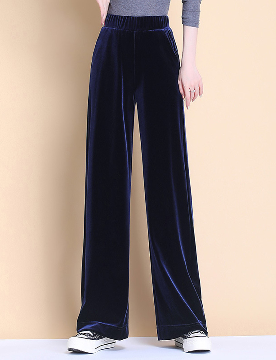 Women's Basic Breathable Loose Daily Wide Leg Pants Solid Colored Full Length High Waist Black Royal Blue Gray