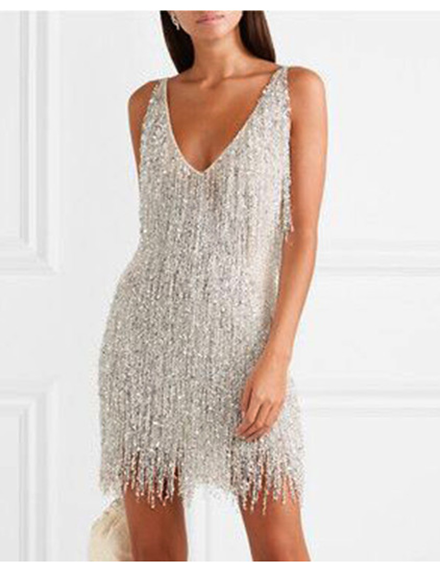 Women's Sheath Dress Short Mini Dress - Sleeveless Solid Colored Backless Tassel Fringe Glitter Deep V Elegant Hot Sexy Going out Silver S M L XL XXL