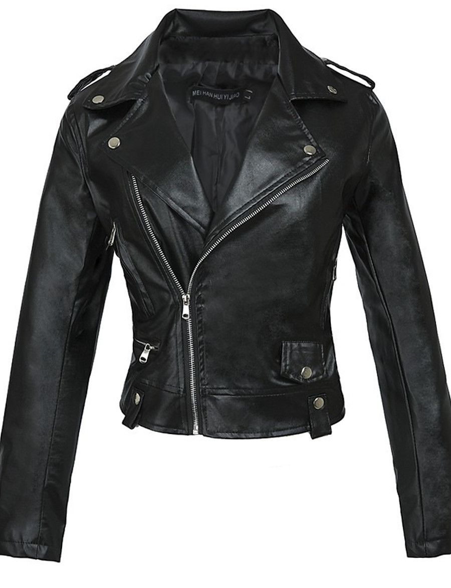 Women's Zipper Notch lapel collar Faux Leather Jacket Short Solid Colored Daily Basic Black S M L XL