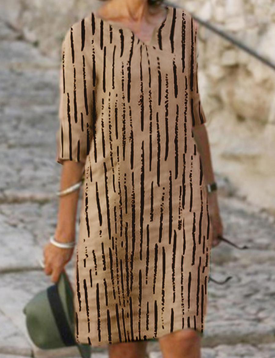Women's Chiffon Dress Knee Length Dress - Half Sleeve Striped Fall Plus Size Elegant Hot 2020 Blushing Pink Beige S M L XL XXL 3XL 4XL 5XL