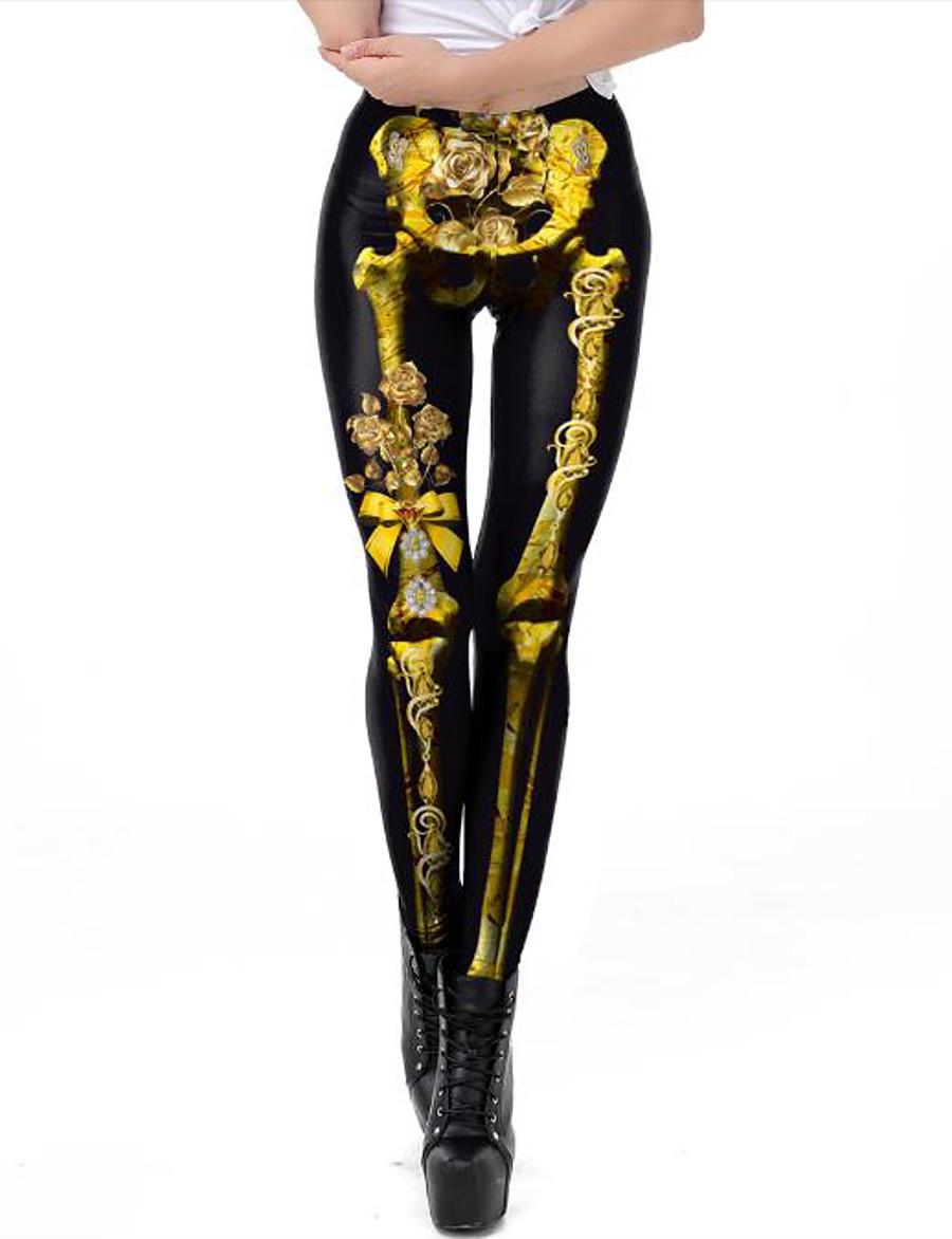 Femme Exagéré Respirable Mince Halloween Leggings Pantalon 3D Fleur Crânes Toute la longueur Imprimé Taille haute Noir