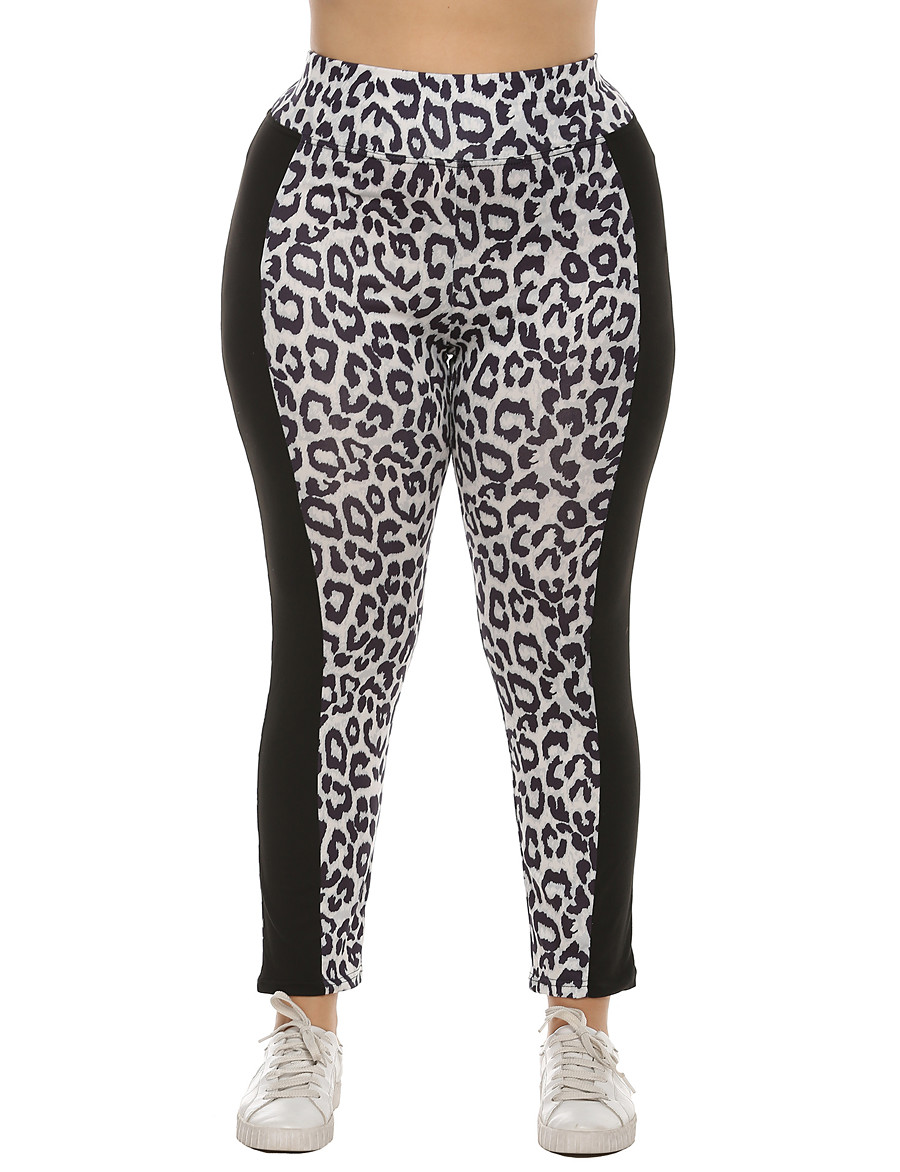 Women's Basic Breathable Plus Size Daily Chinos Pants Leopard Full Length High Waist White