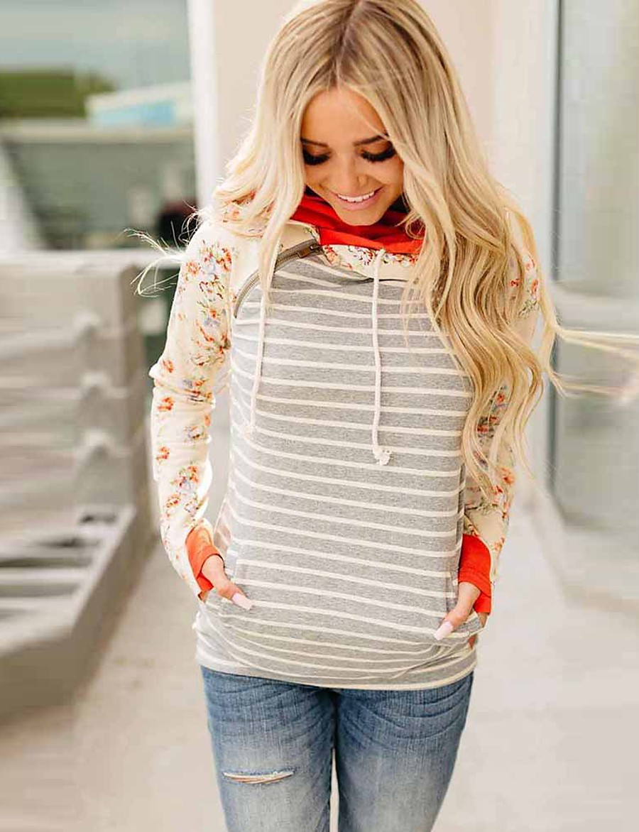 Women's Pullover Hoodie Sweatshirt Striped Front Pocket Daily Other Prints Basic Hoodies Sweatshirts  Gray