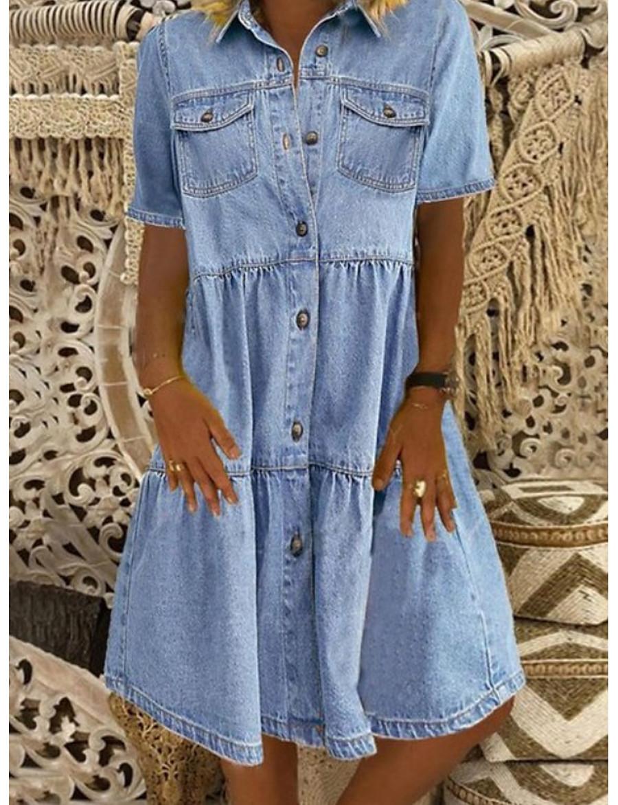 Women's Denim Shirt Dress Knee Length Dress - Short Sleeve Square Pocket Summer Shirt Collar Hot Casual 100% Cotton 2020 Blue S M L XL XXL 3XL
