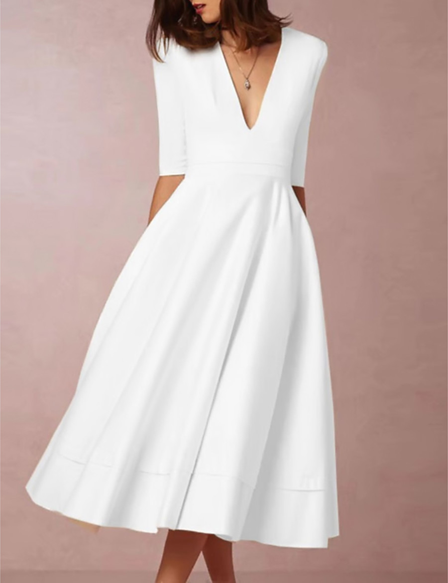 Women's Swing Dress Midi Dress - Half Sleeve Deep V Hot Going out White S M L XL XXL 3XL