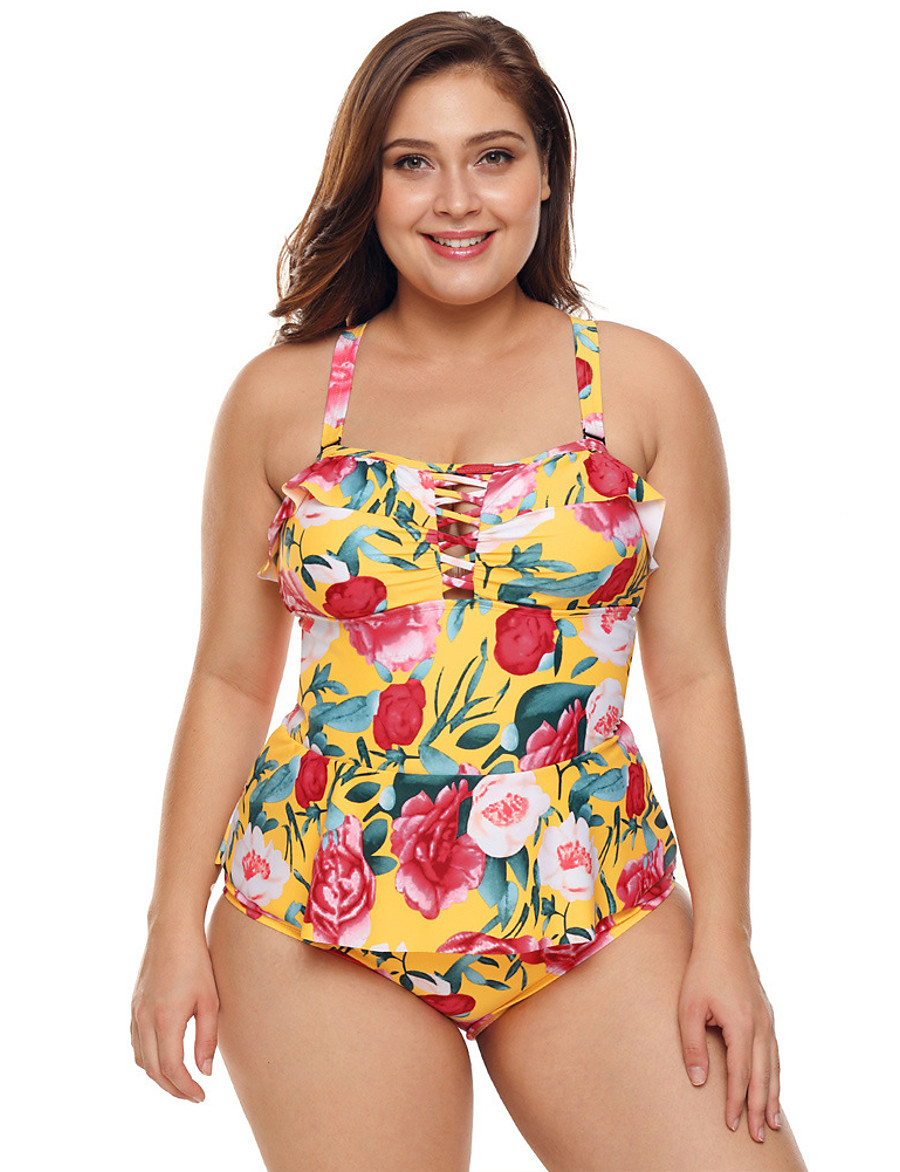 Women's Plus Size Sexy One-piece Swimsuit Cut Out Print Floral Print Strap Swimwear Bathing Suits Rainbow / Padded Bras