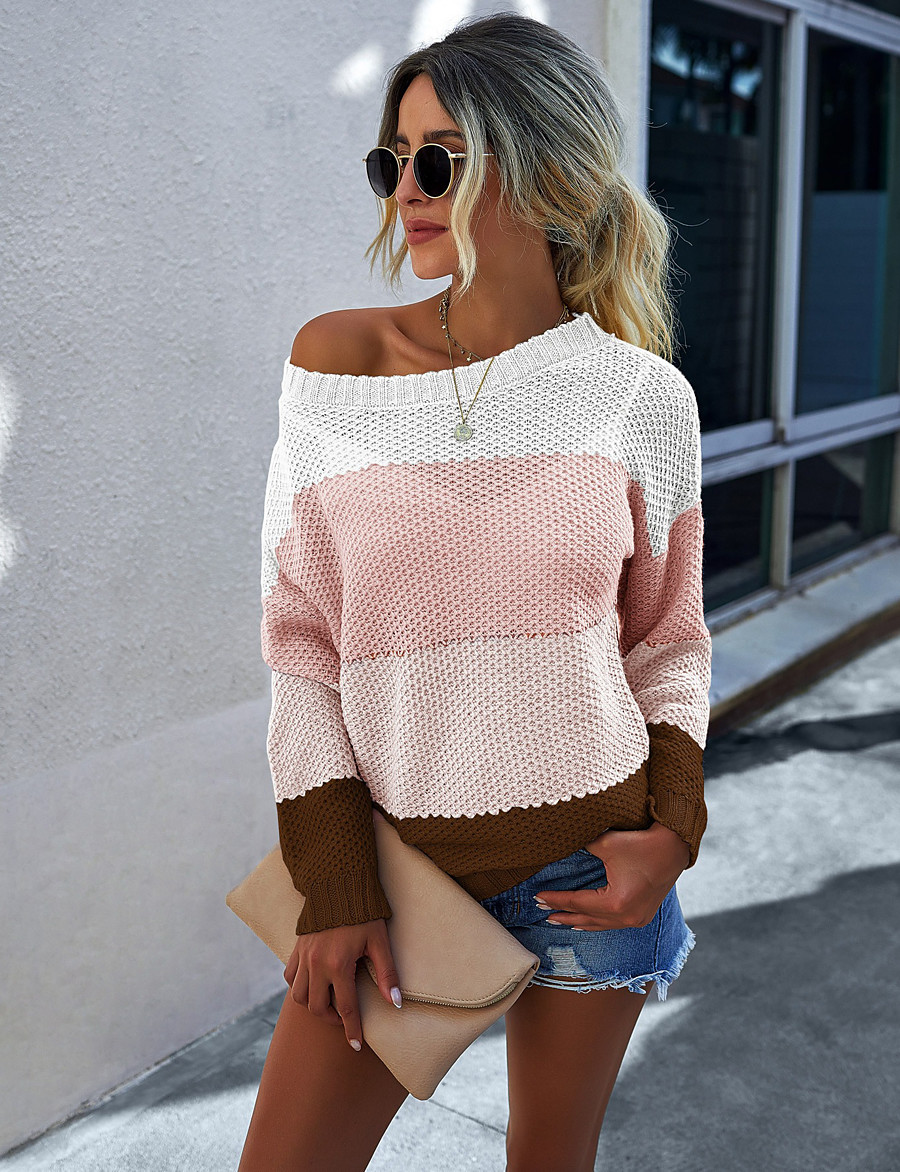 Women's Basic Knitted Color Block Pullover Acrylic Fibers Long Sleeve Loose Sweater Cardigans Crew Neck Round Neck Fall Winter Blue Yellow Blushing Pink