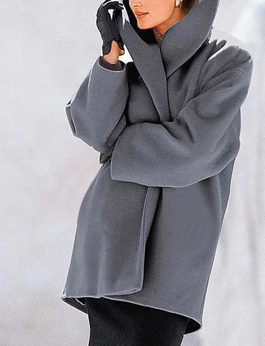 Women's Fall & Winter Shirt Collar Coat Regular Solid Colored Daily Basic White Black Purple Red S M L XL / Loose