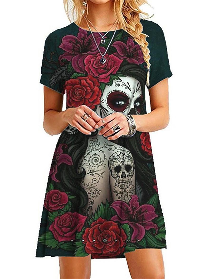 Halloween Femme Robe Droite Mini robe Courte - Manches Courtes Fleurie Crânes Imprimé Simple chaud robes de vacances 2020 Violet Vin Vert Arc-en-ciel Gris S M L XL XXL