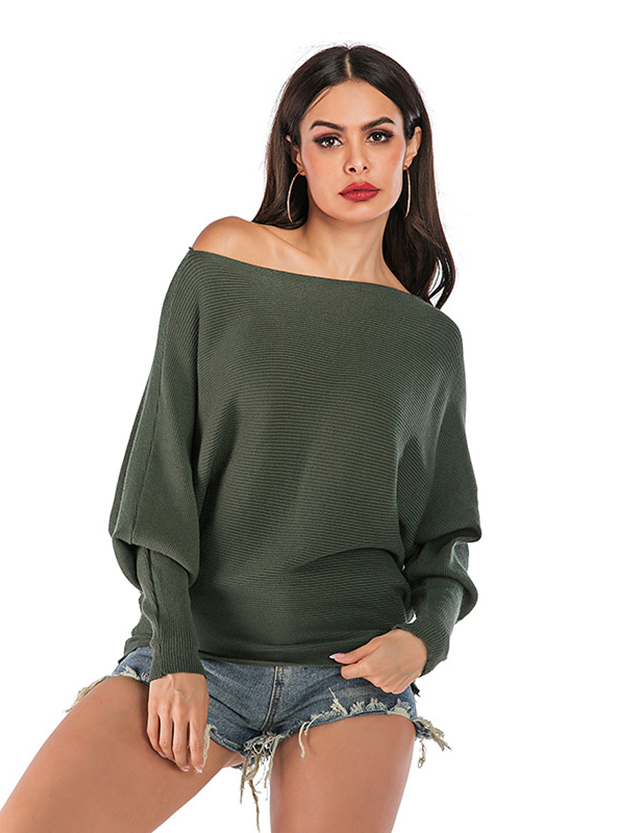 Women's Basic Knitted Solid Color Plain Pullover Long Sleeve Sweater Cardigans Off Shoulder Fall Winter Army Green