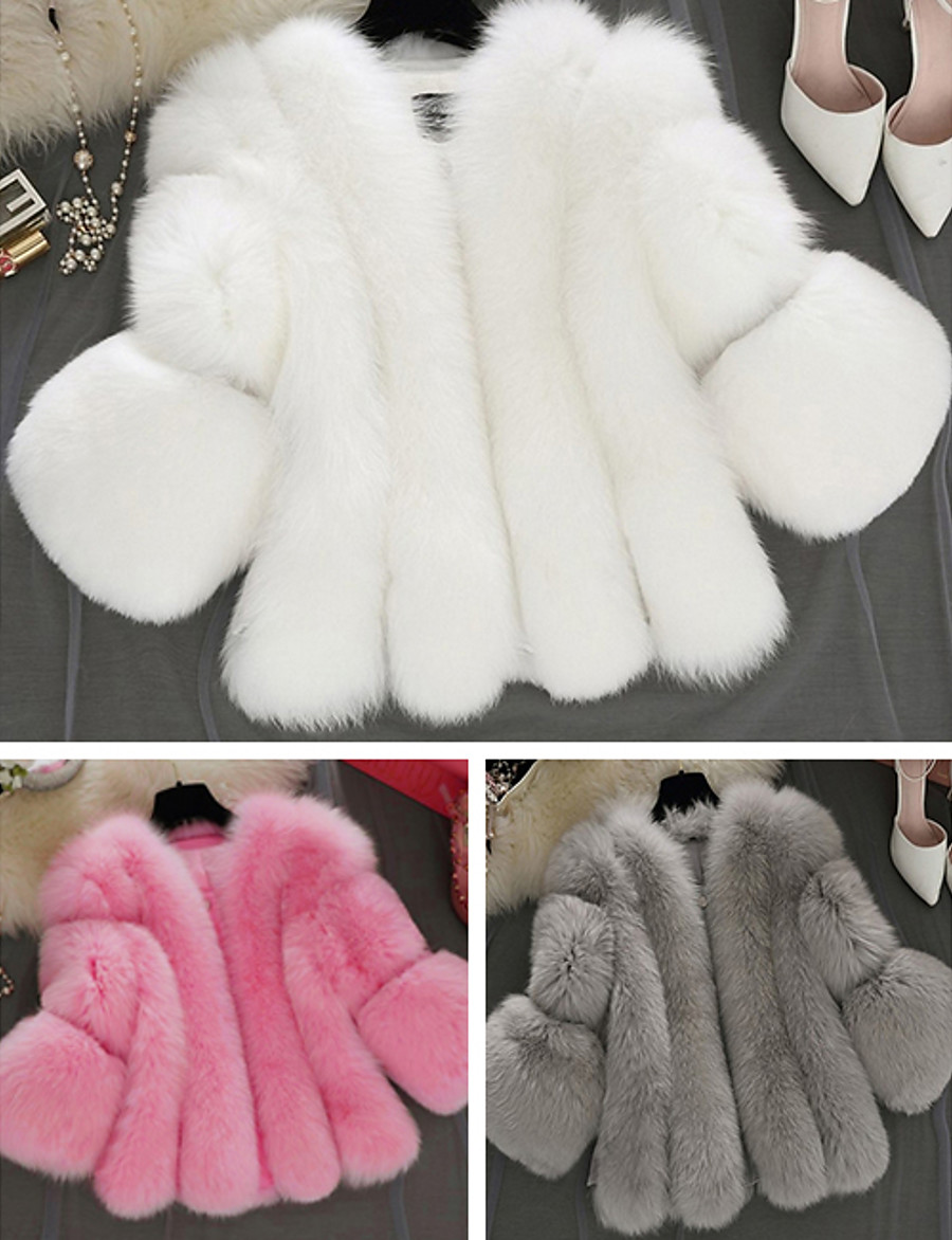 Women's V Neck Faux Fur Coat Regular Solid Colored Daily White Blushing Pink Gray S M L