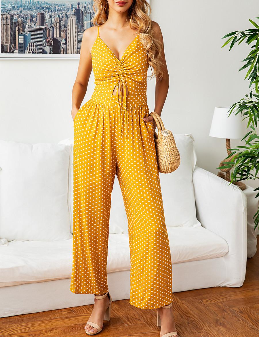 Women's Streetwear Yellow Dusty Blue Jumpsuit Polka Dot
