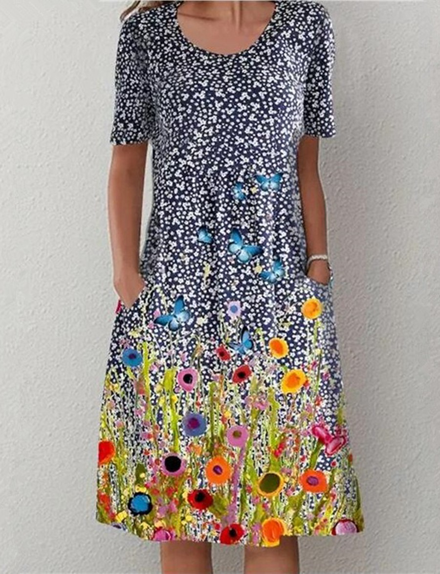 Women's Shift Dress Midi Dress Blue Short Sleeve Polka Dot Print Pocket Print Summer Round Neck Hot Casual vacation dresses 2021 S M L XL XXL 3XL 4XL 5XL