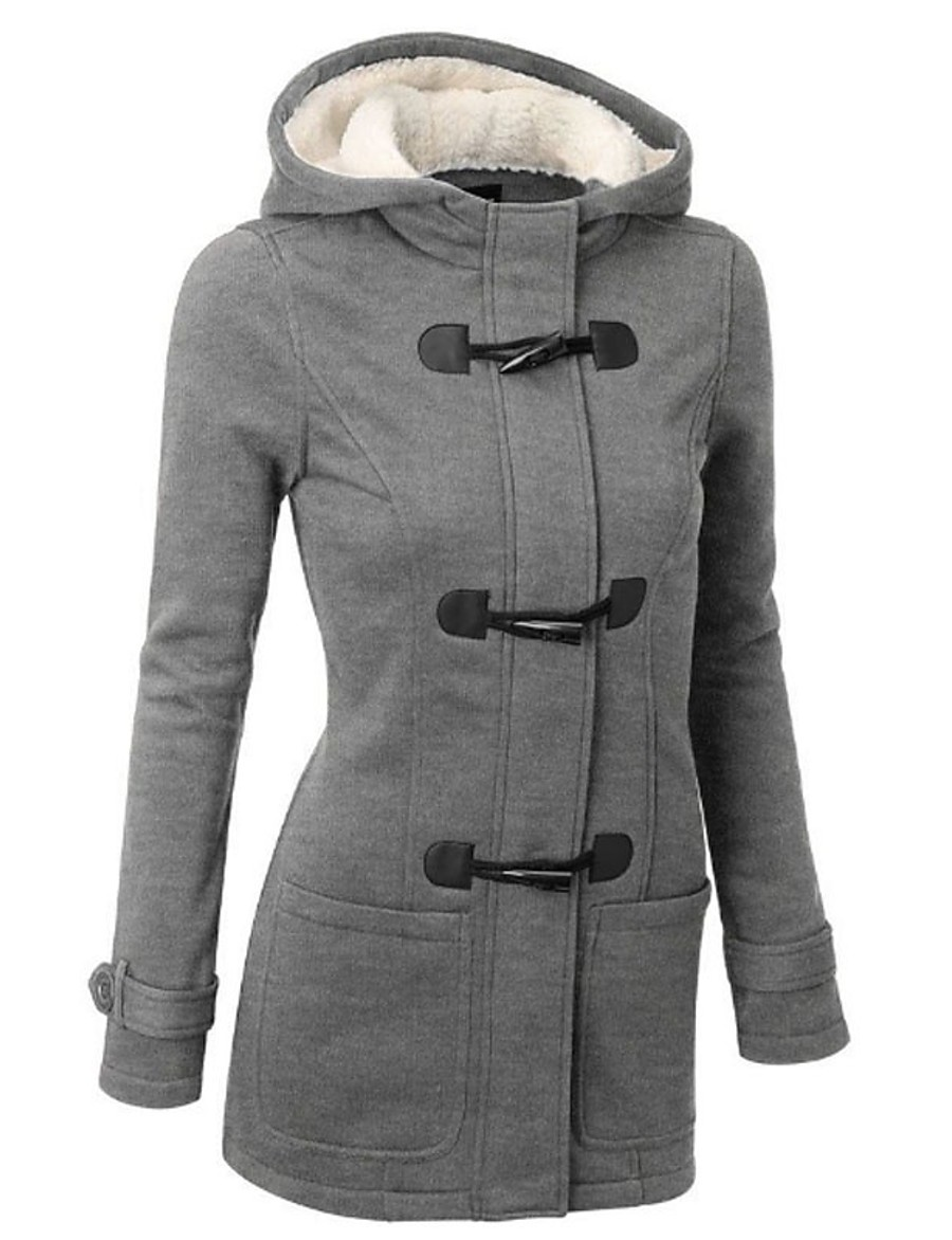 Women's Padded Parka Solid Colored Wool Blend Black / Blue / Wine S / M / L