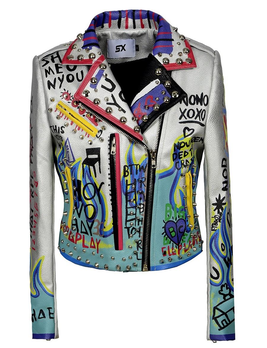 Women's Zipper Notch lapel collar Faux Leather Jacket Regular Geometric Daily Punk & Gothic Rivet Silver XS S M L