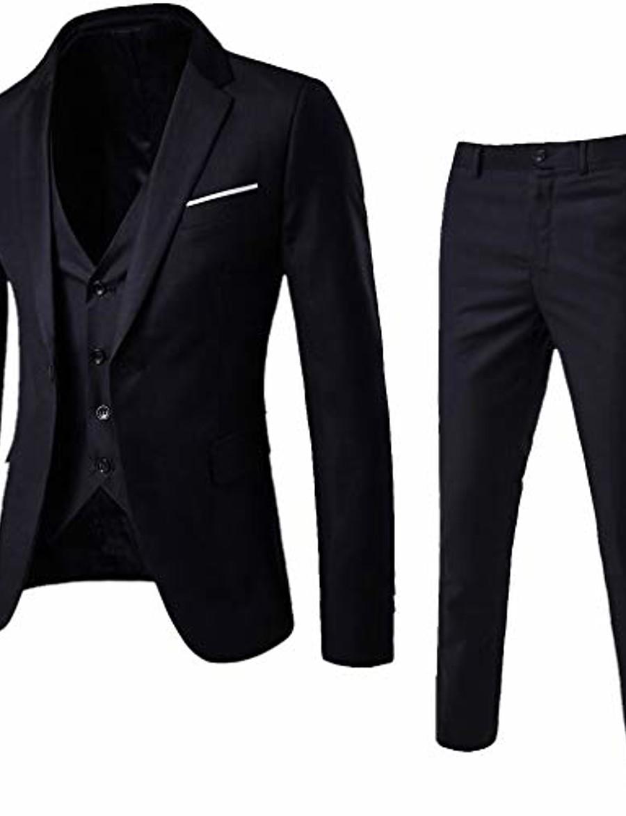 3-piece blazer jacket men's slim suit coat tuxedo party business wedding party jacket vest & pants (black, xxxl)