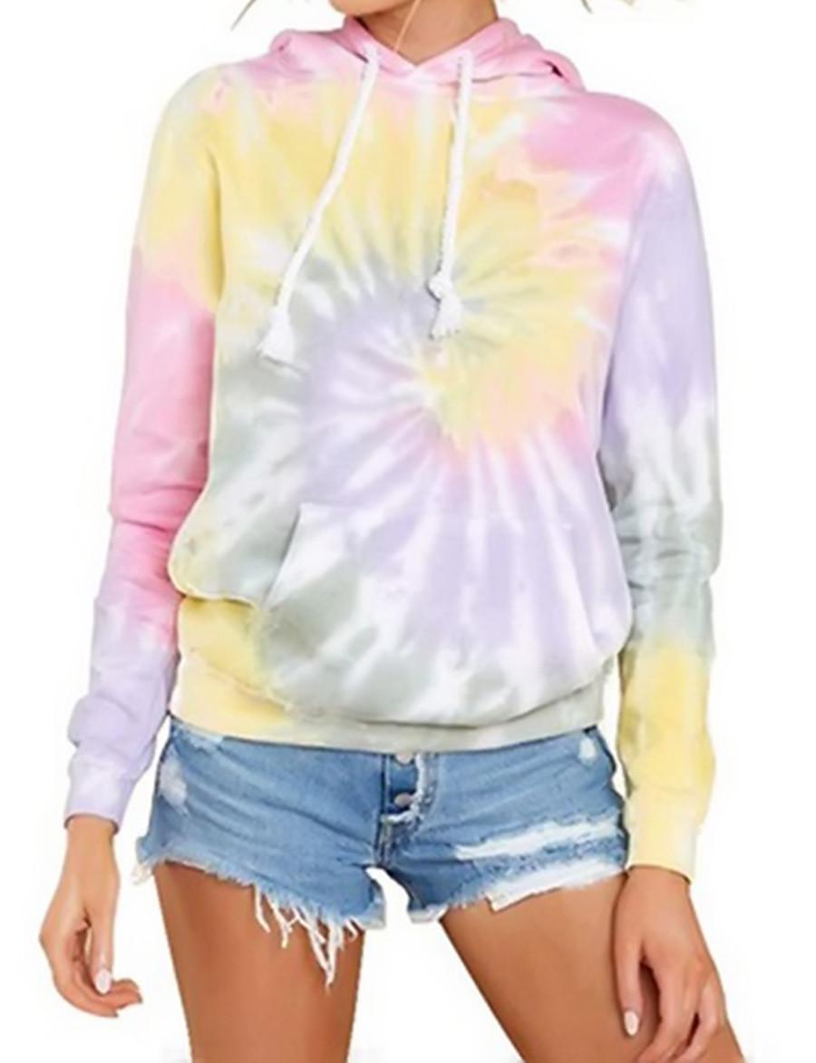 Women's Pullover Hoodie Sweatshirt Tie Dye Basic Hoodies Sweatshirts  Blushing Pink Light Green
