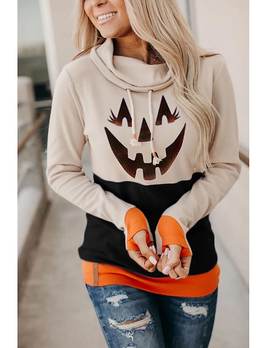Women's Halloween Pullover Hoodie Sweatshirt Pumpkin Halloween Hoodies Sweatshirts  Black Orange Khaki
