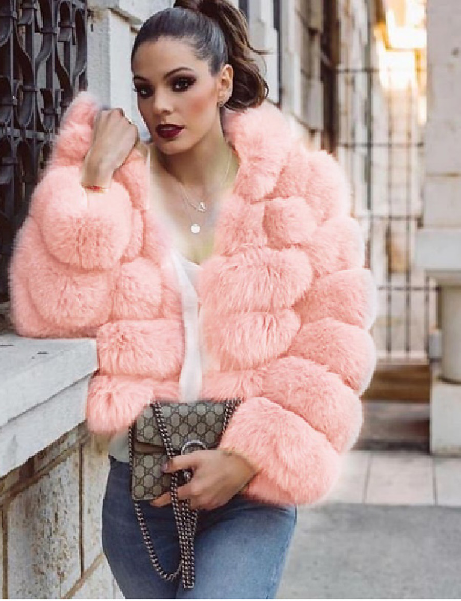 Women's Fall & Winter Coat Regular Solid Colored Daily Basic Faux Fur Blushing Pink S M L XL