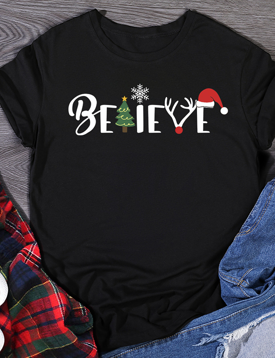 Women's Christmas T shirt Graphic Prints Print Round Neck Christmas Tops 100% Cotton White Black