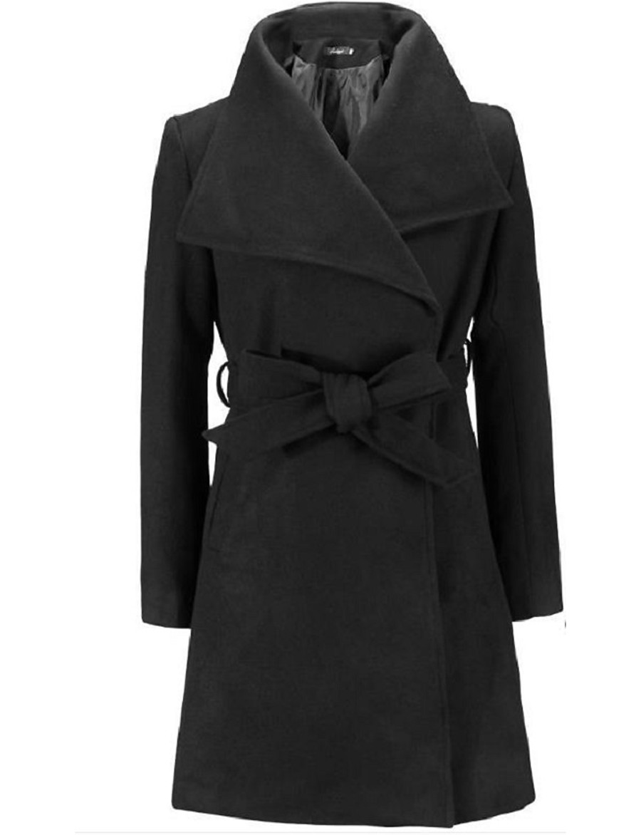 Women's Fall & Winter Trench Coat Long Solid Colored Daily Basic Black Khaki Green S M XL XXL