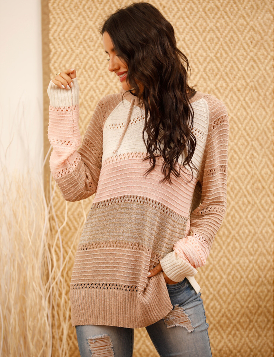 Women's Basic Hooded Striped Pullover Long Sleeve Oversized Sweater Cardigans V Neck Fall Winter Blushing Pink