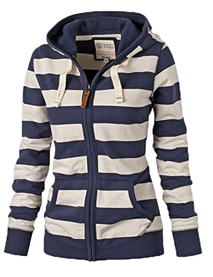 Women's Zipper Jacket Regular Striped Daily Print Cotton Blue S M L XL