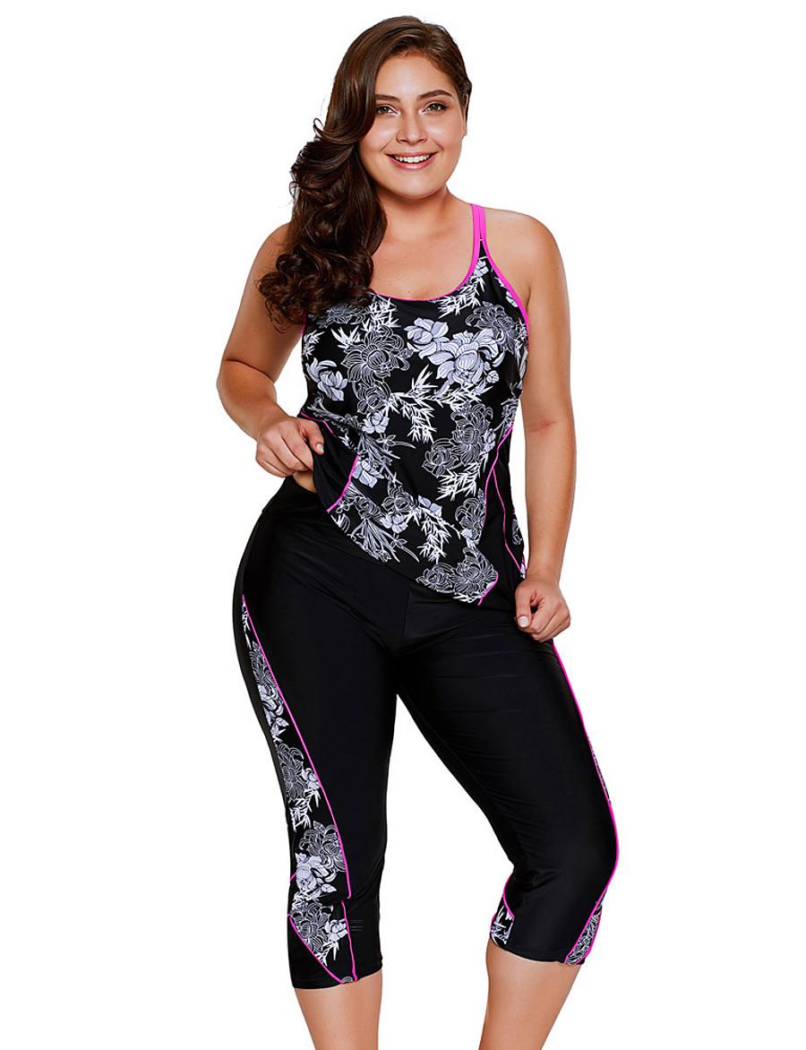 Women's Plus Size Floral Style Tankini Sets Tankini Swimsuit Criss Cross Print Floral Print Scoop Neck Swimwear Bathing Suits Black / Padded Bras