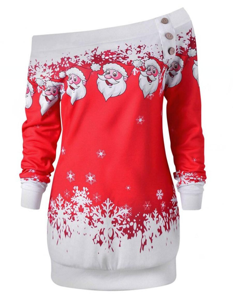 Women's Pullover Sweatshirt Graphic Daily Other Prints Christmas Hoodies Sweatshirts  Loose Black Purple Red