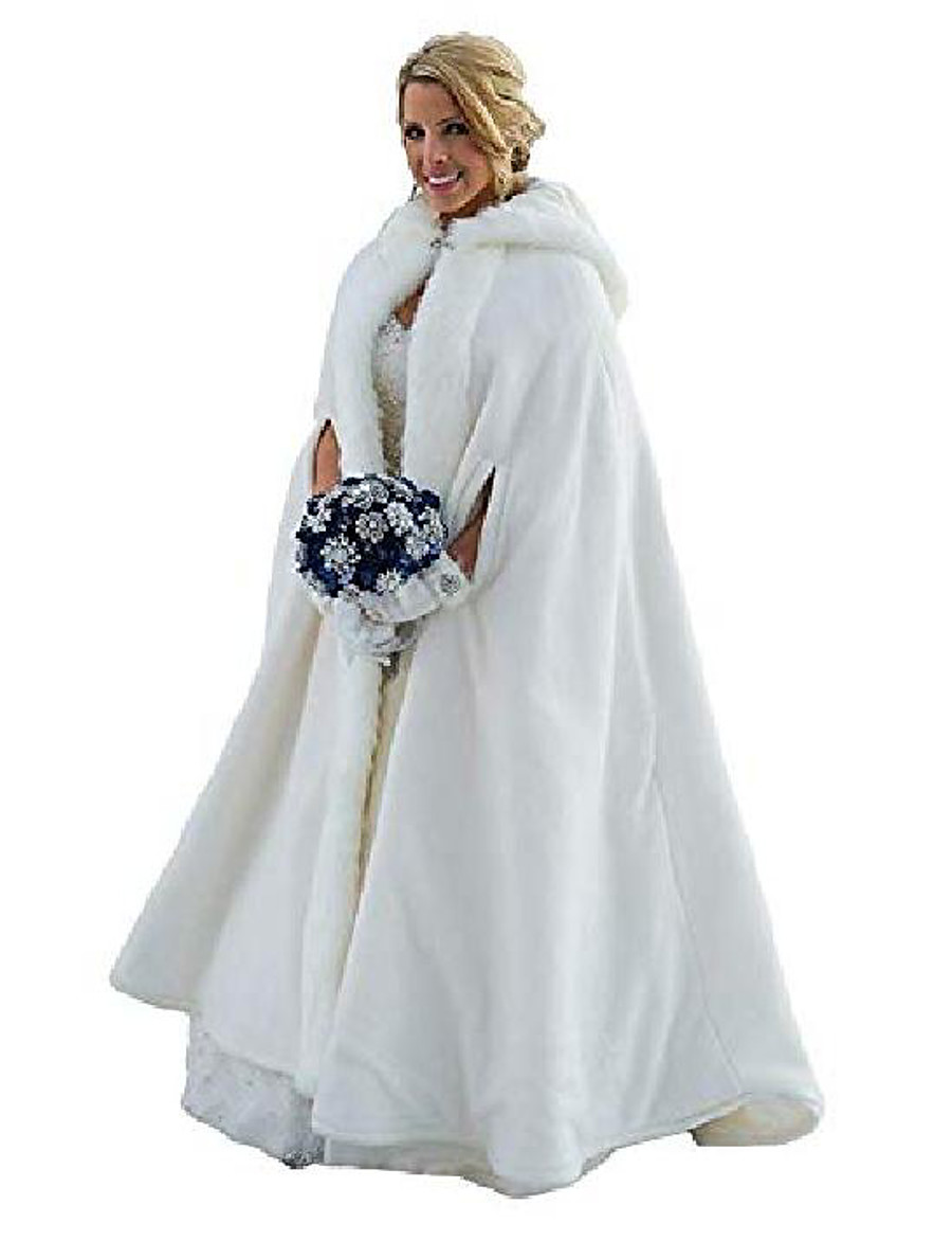 thicken wedding cloak faux fur winter robes hooded bride capes with armhole