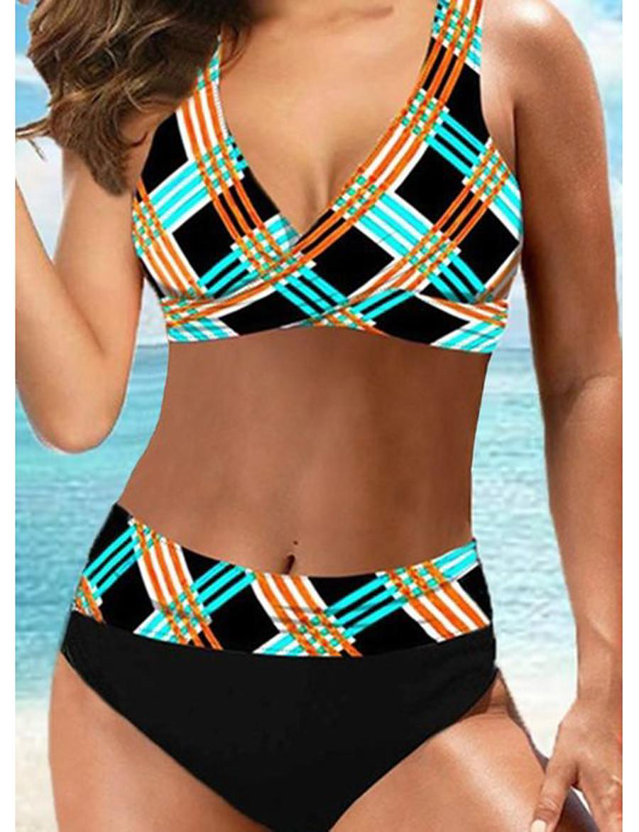Women's Sexy Online Canada Bikini Swimsuit Backless High Waist Geometric Spaghetti Strap Swimwear Bathing Suits Rainbow / Padded Bras