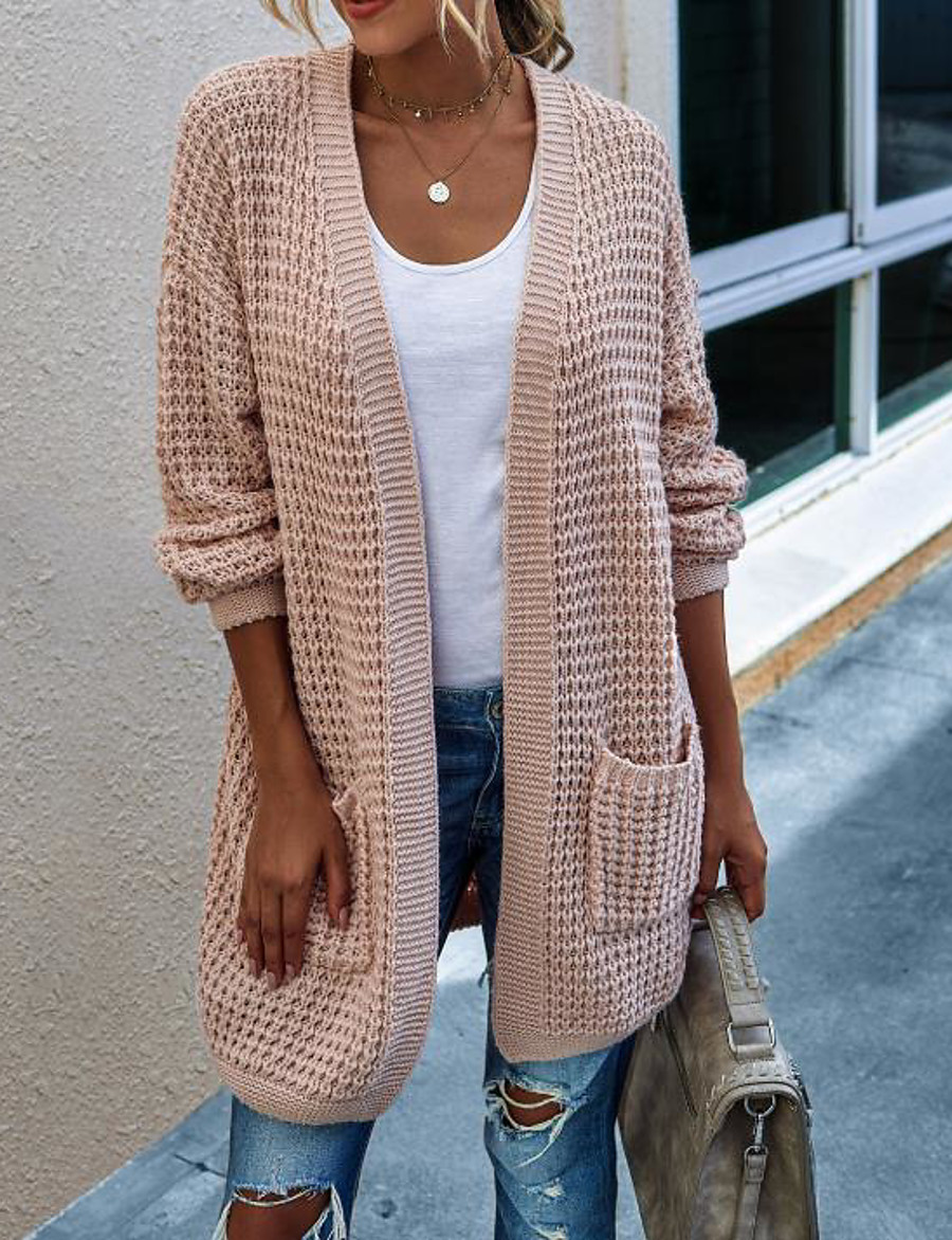 Women's Basic Knitted Solid Color Plain Cardigan Acrylic Fibers Long Sleeve Loose Sweater Cardigans Open Front Fall Winter White Blushing Pink Green