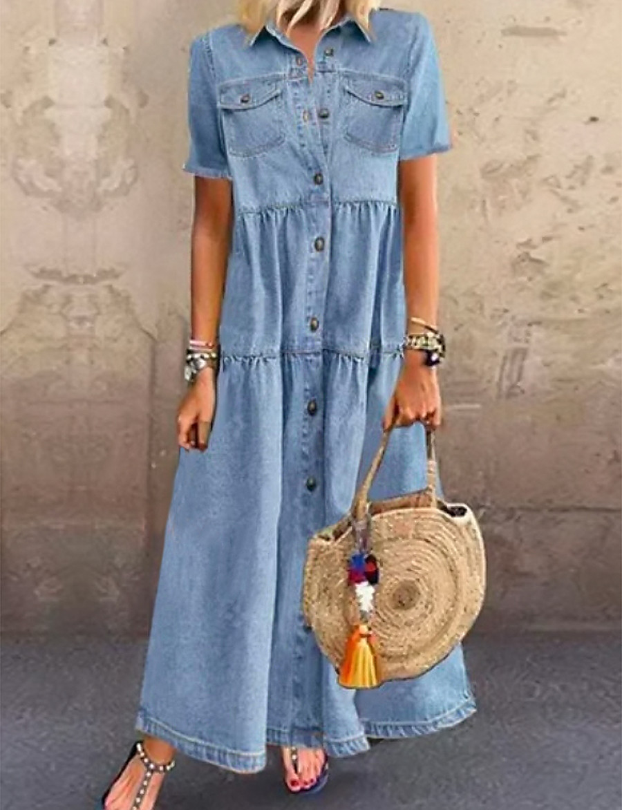 Women's Denim Shirt Dress Maxi long Dress - Short Sleeve Summer Casual Hot vacation dresses 100% Cotton 2020 Light Blue S M L XL XXL 3XL
