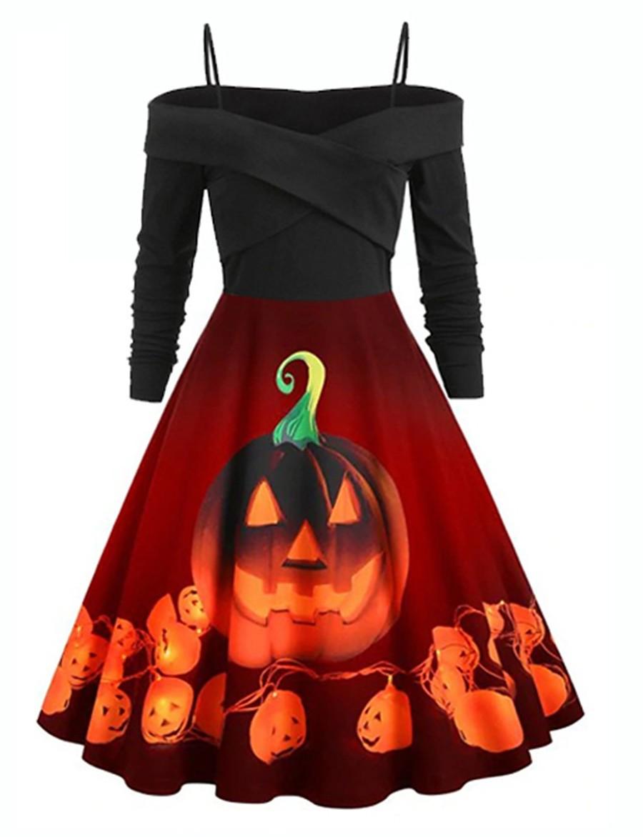 Halloween Women's A-Line Dress Knee Length Dress - Long Sleeve Print Print Summer Off Shoulder Hot Vintage Party Slim 2020 Black Blue Purple Orange S M L XL XXL 3XL 4XL 5XL