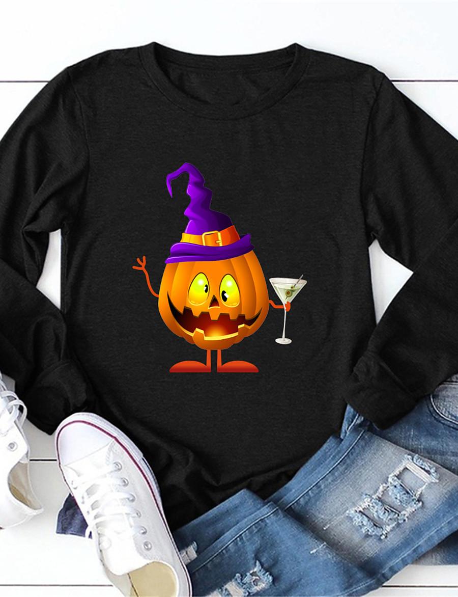 Women's Halloween T-shirt Graphic Prints Pumpkin Long Sleeve Print Round Neck Tops 100% Cotton Basic Halloween Basic Top Black Yellow Army Green