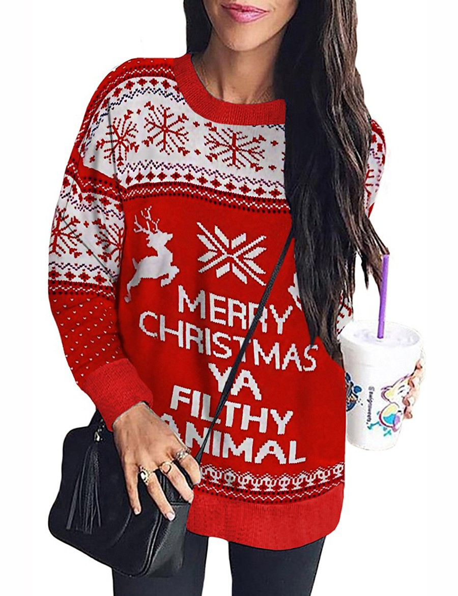 Women's Christmas Knitted Letter Pullover Long Sleeve Loose Sweater Cardigans Crew Neck Round Neck Fall Winter Red