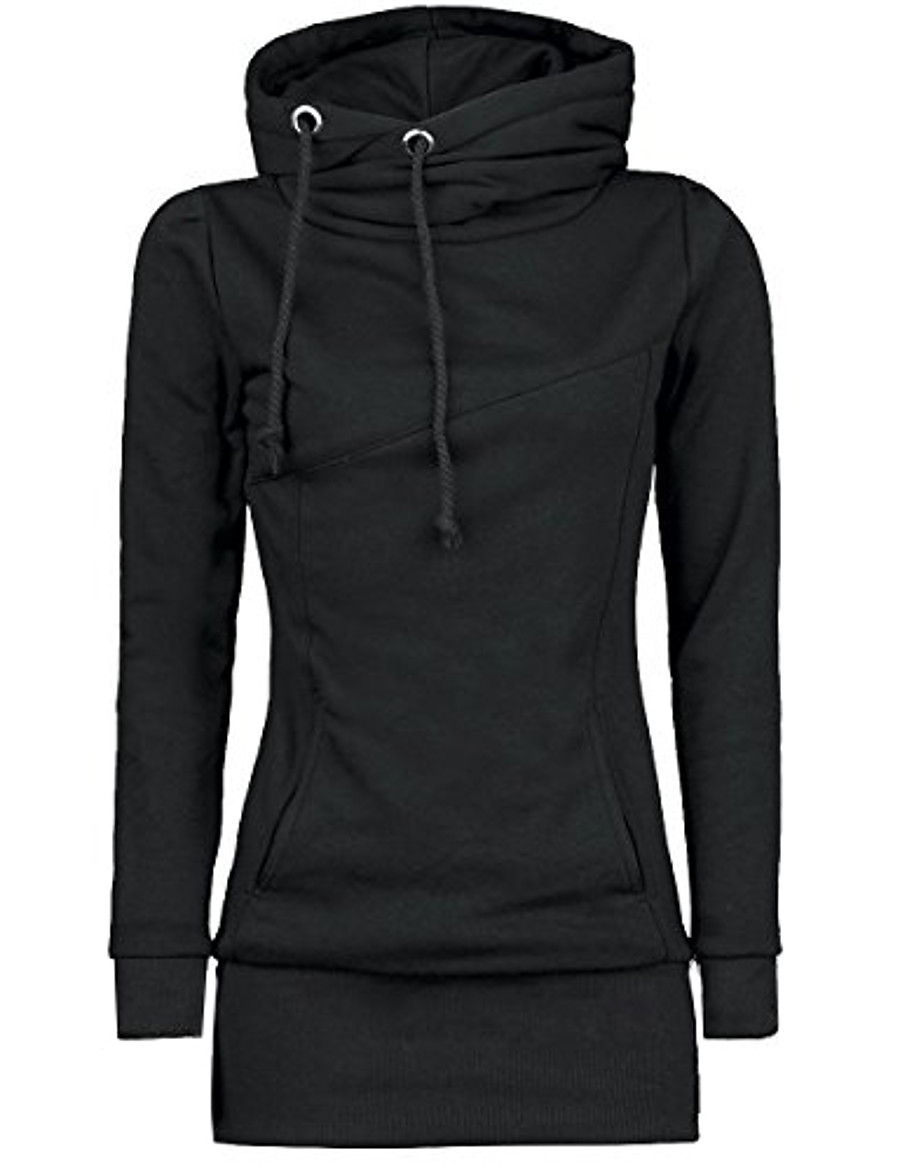 women's casual long sleeve solid color slim fit cowl neck pullover sweatshirt tops outwear black