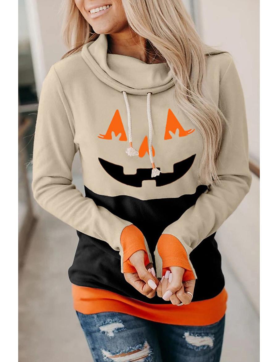 Femme Sweat-shirt à capuche Potiron Halloween basique Halloween Pulls Capuche Pulls molletonnés Ample Noir Orange Kaki