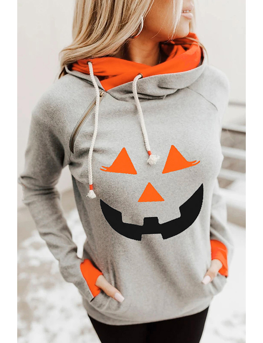 Women's Halloween Pullover Hoodie Sweatshirt Pumpkin Halloween Hoodies Sweatshirts  Orange Light gray Dark Gray